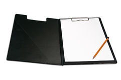 Clipboard and pencil. Clipboard with sheet of paper and pencil Stock Photos