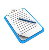 Clipboard with pencil. On white background, 3d image Stock Images