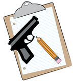 Clipboard with pencil and gun Royalty Free Stock Images