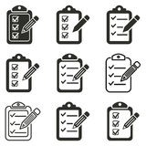 Clipboard pencil icon set. Clipboard pencil vector icons set. Black illustration isolated on white background for graphic and web design vector illustration