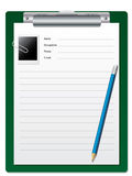 Clipboard with pencil and photo Stock Photography