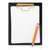 Clipboard and pencil Stock Photo