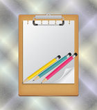 Clipboard with pencils Royalty Free Stock Photography