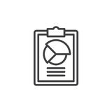 Clipboard with pie chart line icon Stock Image