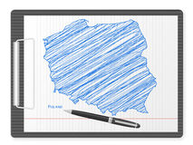 Clipboard Poland map Stock Image