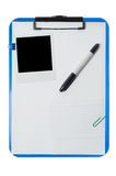 Clipboard with polaroid photo Royalty Free Stock Photo
