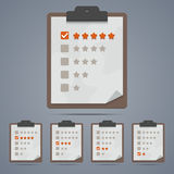 Clipboard with rating stars and checkboxes. Vector illustration in EPS10 Royalty Free Stock Image