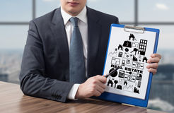 Clipboard with real estate symbol Stock Image