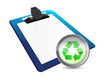 Clipboard and recycle illustration design. Over a white background Royalty Free Stock Photo
