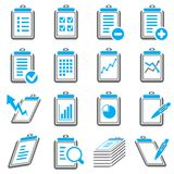 Clipboard and report icons. Set of 16 clipboard and report icons Royalty Free Stock Photos
