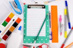 Clipboard with sheets and stationery royalty free stock photos
