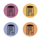 Clipboard simple flat icon in color circle Royalty Free Stock Photography