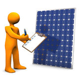 Clipboard Solar Panel. Orange cartoon character with clipboard and solar panel Royalty Free Stock Photos