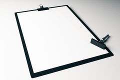 Clipboard with stamper. Closeup of blank clipboard and stamper on white surface. Mock up, 3D Rendering Royalty Free Stock Image