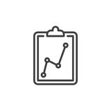 Clipboard statistics line icon, outline vector sign. Linear style pictogram isolated on white. Symbol, logo illustration. Editable stroke. Pixel perfect vector Stock Images