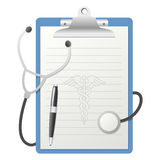 Clipboard with Stethoscope. Blue clipboard with blank lined paper, stethoscope, pen and caduceus symbol, isolated on white background. Eps file available Stock Images