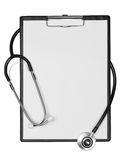 Clipboard with stethoscope Stock Photos