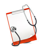 Clipboard with stethoscope Royalty Free Stock Image
