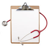 Clipboard with a stethoscope Stock Photography
