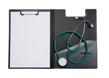 Clipboard with stethoscope Stock Photography