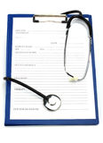 Clipboard and Stethoscope Stock Images