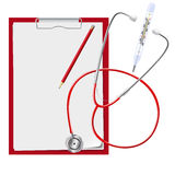 Clipboard, stethoscope, mercury thermometer. Medical. Vector illustration. Royalty Free Stock Photography