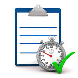 Clipboard and stopwatch Stock Images