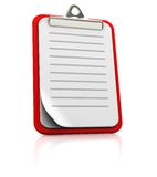 Clipboard with strips. On white background, 3d image Royalty Free Stock Photo