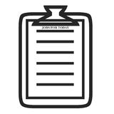 Clipboard symbol. Clipboard and job sheet symbols on white background Stock Images