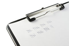 Clipboard and tally marks Royalty Free Stock Photo