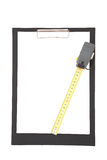 Clipboard with tape measure Stock Images