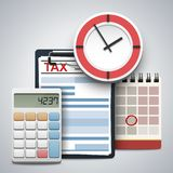 Clipboard with tax form, wall clock, calculator and flip calendar. Concept of tax day, calculation, payment or return royalty free stock photo