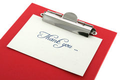 Clipboard and thank you note Royalty Free Stock Photography