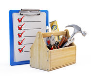 Clipboard and toolbox Royalty Free Stock Photography