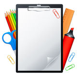Clipboard and tools. Clipboard with blank page and writing tools Royalty Free Stock Images