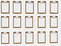 Clipboard Wall. Wall of clipboards against white Royalty Free Stock Photography
