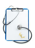 Clipboard With Stethoscope Royalty Free Stock Photos