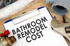 Clipboard with words bathroom remodel cost. Renovation estimate Royalty Free Stock Photography