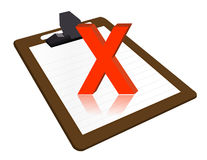 Clipboard with x mark Stock Photo