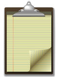 Clipboard Yellow Legal Pad Corner Paper Page Curl Royalty Free Stock Photos