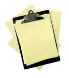 Clipboard with Yellow Paper Stock Image