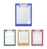 Clipboards with blank paper. Illustration of clipboards in various colors with ruled, checked and blank paper isolated Royalty Free Stock Photography