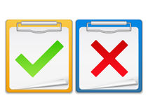 Clipboards with check and cross symbols. Illustration of clipboards with check and cross symbols Stock Image