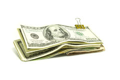 ClipOfDollarNote. Dollar note is cliping thgether Royalty Free Stock Photo