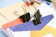 Clipped mail in office Royalty Free Stock Images
