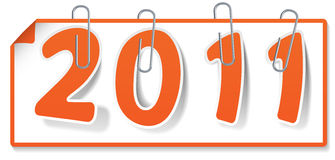 Clipped orange sign 2011 Royalty Free Stock Photography
