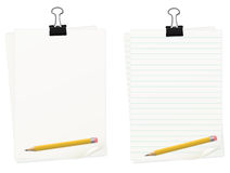 Clipped Paper With Pencil Set Stock Photo
