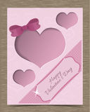 Clipped Pink Valentine Card Template with Hearts Stock Photo