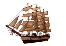 Clipper. A model of an old clipper on a white background royalty free stock photography