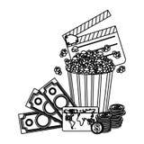 Clipper board, pop corn and money icon. Illustraction design Stock Image